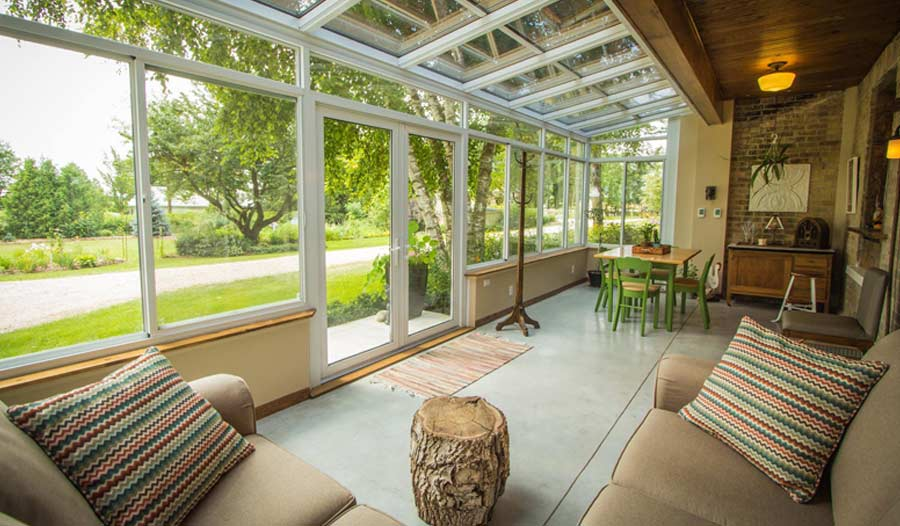 sunroom with two couches