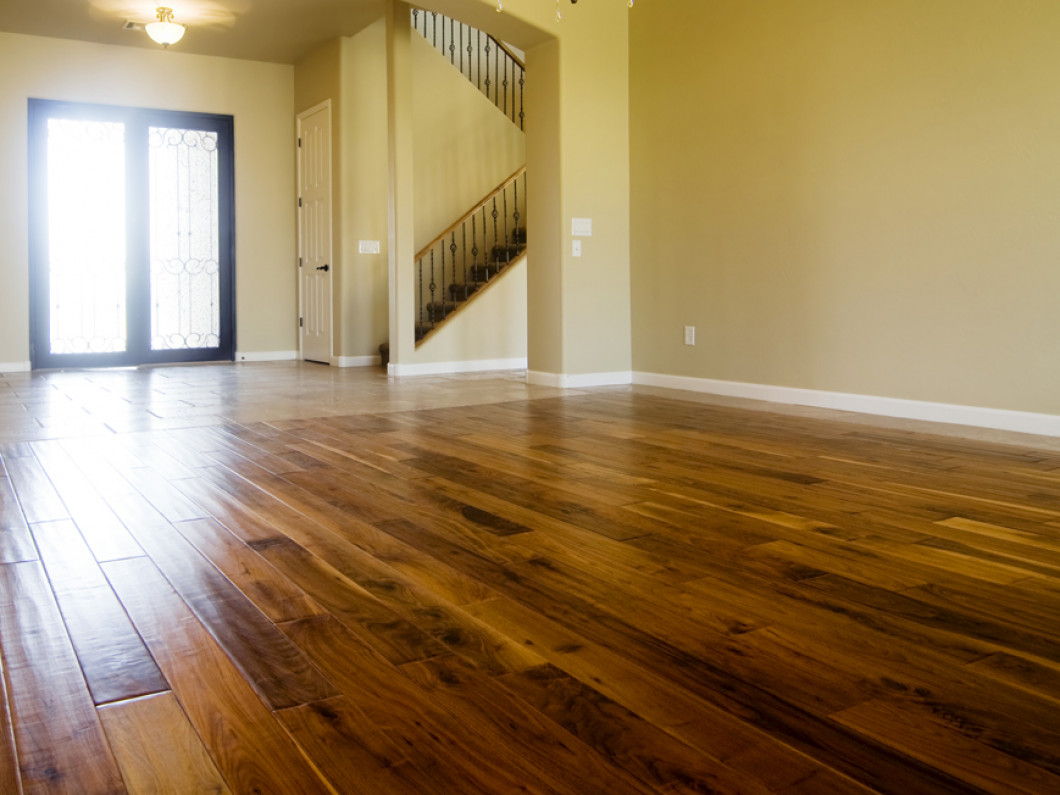 hardwood floor in a bare living room